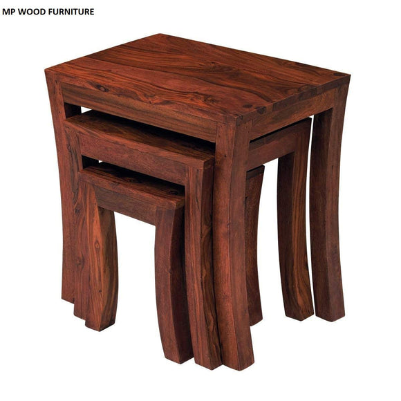 MP WOOD FURNITURE Sheesham wood 3 nesting tables - walnut brown finish - MP Wood Furniture