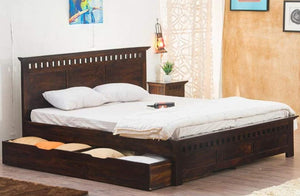 MP WOOD FURNITURE Sheesham wood queen size bed with drawer storage - Mahogany Finish