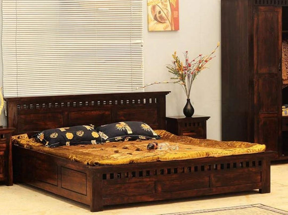 MP WOOD FURNITURE Sheesham wood queen size bed with box storage - Honey Finish
