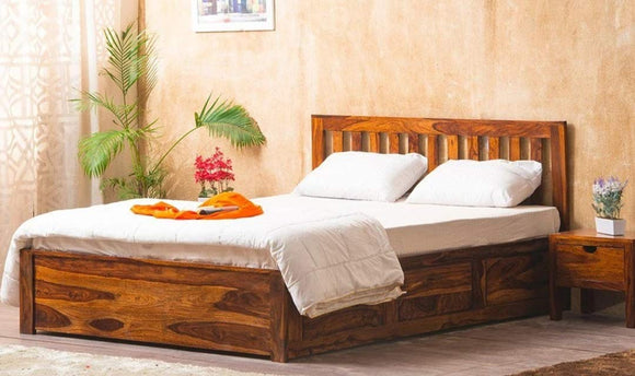 MP WOOD FURNITURE Sheesham wood queen size bed with dual storage - Teak Finish