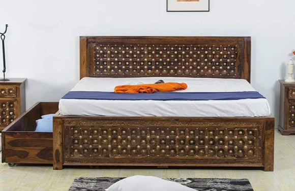 MP WOOD FURNITURE Sheesham wood queen size bed with storage - Provincial Teak
