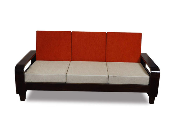 MP WOOD FURNITURE sheesham wood 3 seater sofa - (walnut finish) - MP Wood Furniture