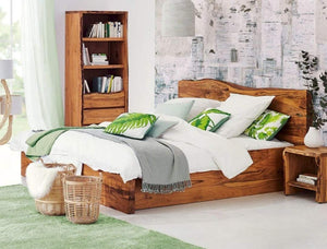 MP WOOD FURNITURE Sheesham wood queen size bed - Teak Finish