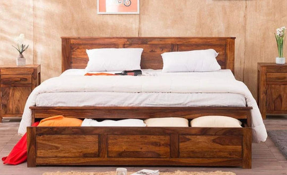 MP WOOD FURNITURE Sheesham wood king size bed with storage - Provincial Teak