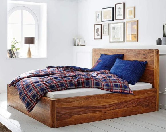MP WOOD FURNITURE Sheesham wood queen size bed with storage - Teak Finish