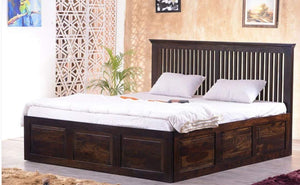 MP WOOD FURNITURE Sheesham wood king size bed with dual storage - Honey Finish