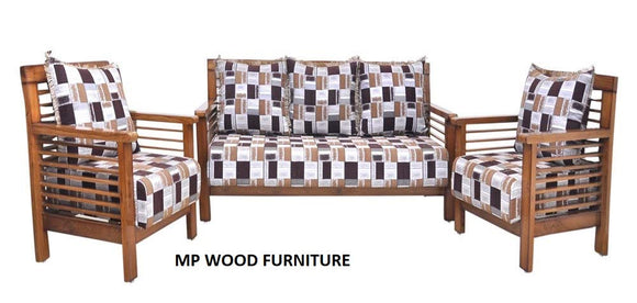 MP WOOD FURNITURE Sheesham wood elegant 5 seater sofa sets for living room - brown, 3+1+1)