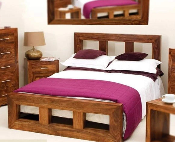 MP WOOD FURNITURE Sheesham wood king size bed - Brown Finish