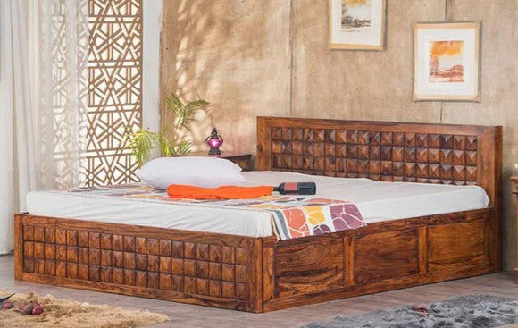 MP WOOD FURNITURE Sheesham wood king size bed with storage - Teak Finish