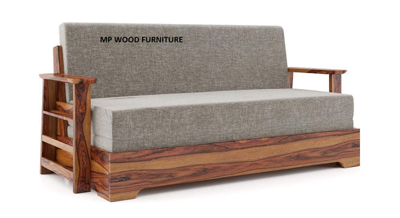 MP WOOD FURNITURE solid sheesham wood  sofa cum bed arm - flint grey