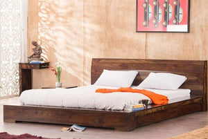 MP WOOD FURNITURE Sheesham wood queen size bed - Mahogany Finish