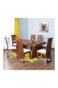 MP WOOD FURNITURE Sheesham Solid Wood Six Seater Dining Table Set (Brown)
