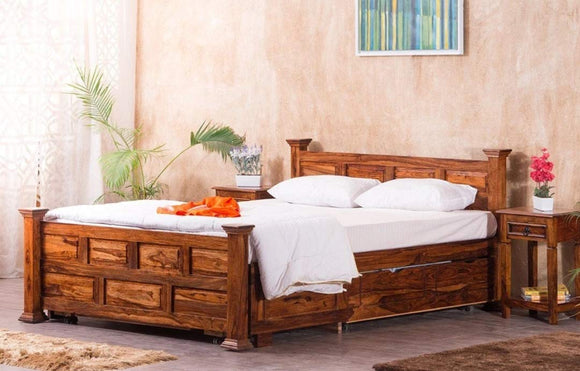 MP WOOD FURNITURE Sheesham wood king size bed with drawer storage - Provincial Teak