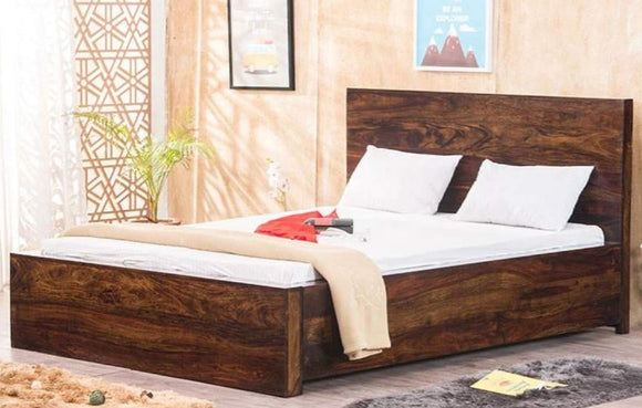 MP WOOD FURNITURE Sheesham wood queen size bed with storage - Honey Finish