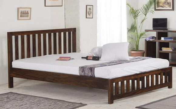 MP WOOD FURNITURE Sheesham wood king size bed - Honey Finish