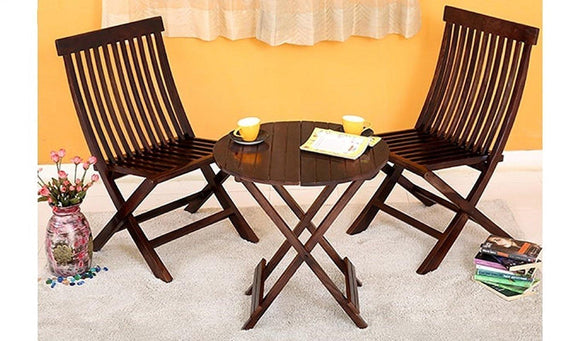 MP WOOD Furniture Set of 3 Piece Dining Set Cappuccino Folding Chair and Round Table (Walnut Finish) - MP Wood Furniture