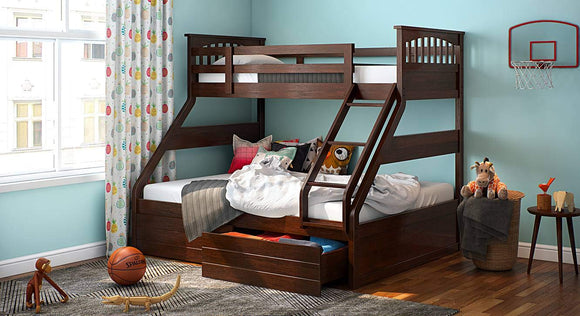 MP WOOD FURNITURE Sheesham wood double size bunk bed - MP Wood Furniture