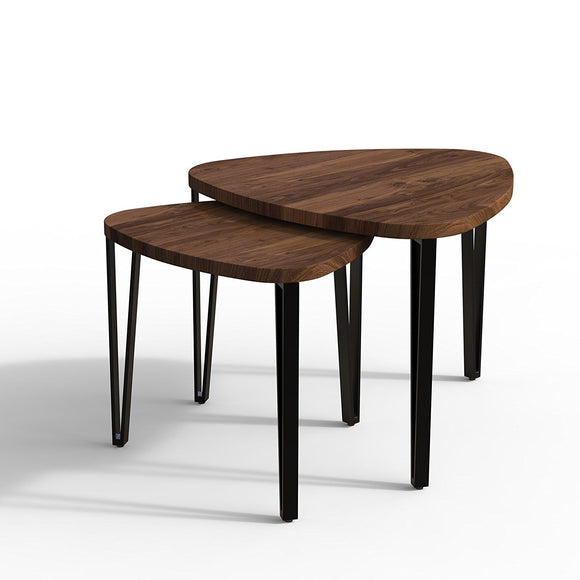 MP WOOD FURNITURE Sheesham and ironwood 3 nesting tables - dark brown - MP Wood Furniture