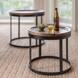 MP WOOD FURNITURE iron frame sheesham wood Nesting Round coffee Table - Set of 2 - MP Wood Furniture