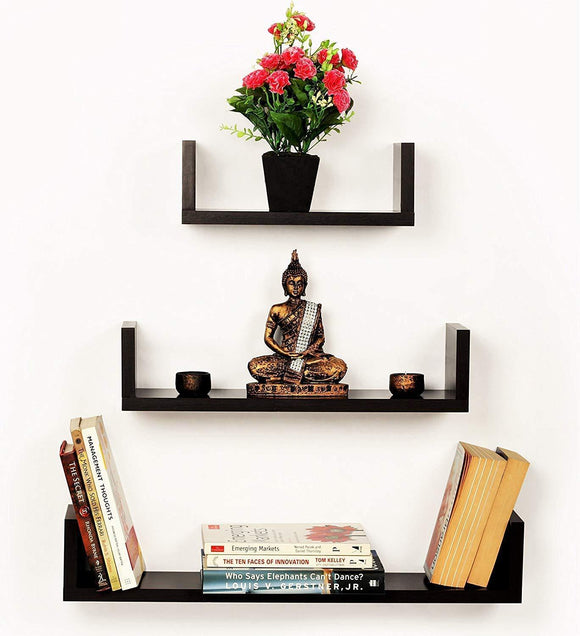 MP WOOD FURNITURE MDF u shape wall shelf - wenge finish