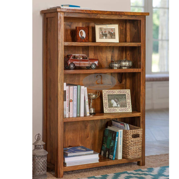 Mp Wood Furniture Sheesham Wood Large Bookshelf - Honey Finish - MP Wood Furniture