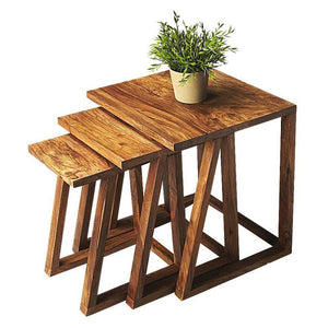 MP WOOD FURNITURE Sheesham wood 3 nesting tables - natural mahogany finish