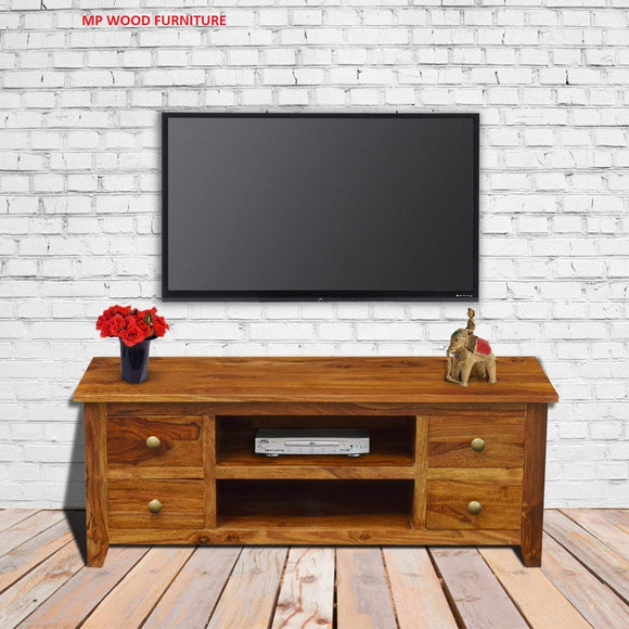 MP WOOD FURNITURE Sheesham wood entertainment TV stand - Teak (Brown)