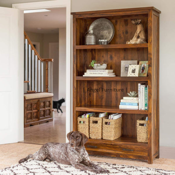 Mp Wood Furniture Sheesham Wood Bookshelf with 2 Drawer - Honey Finish - MP Wood Furniture