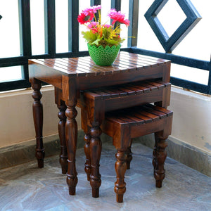 MP WOOD FURNITURE Sheesham wood 3 nesting tables - walnut finish - MP Wood Furniture