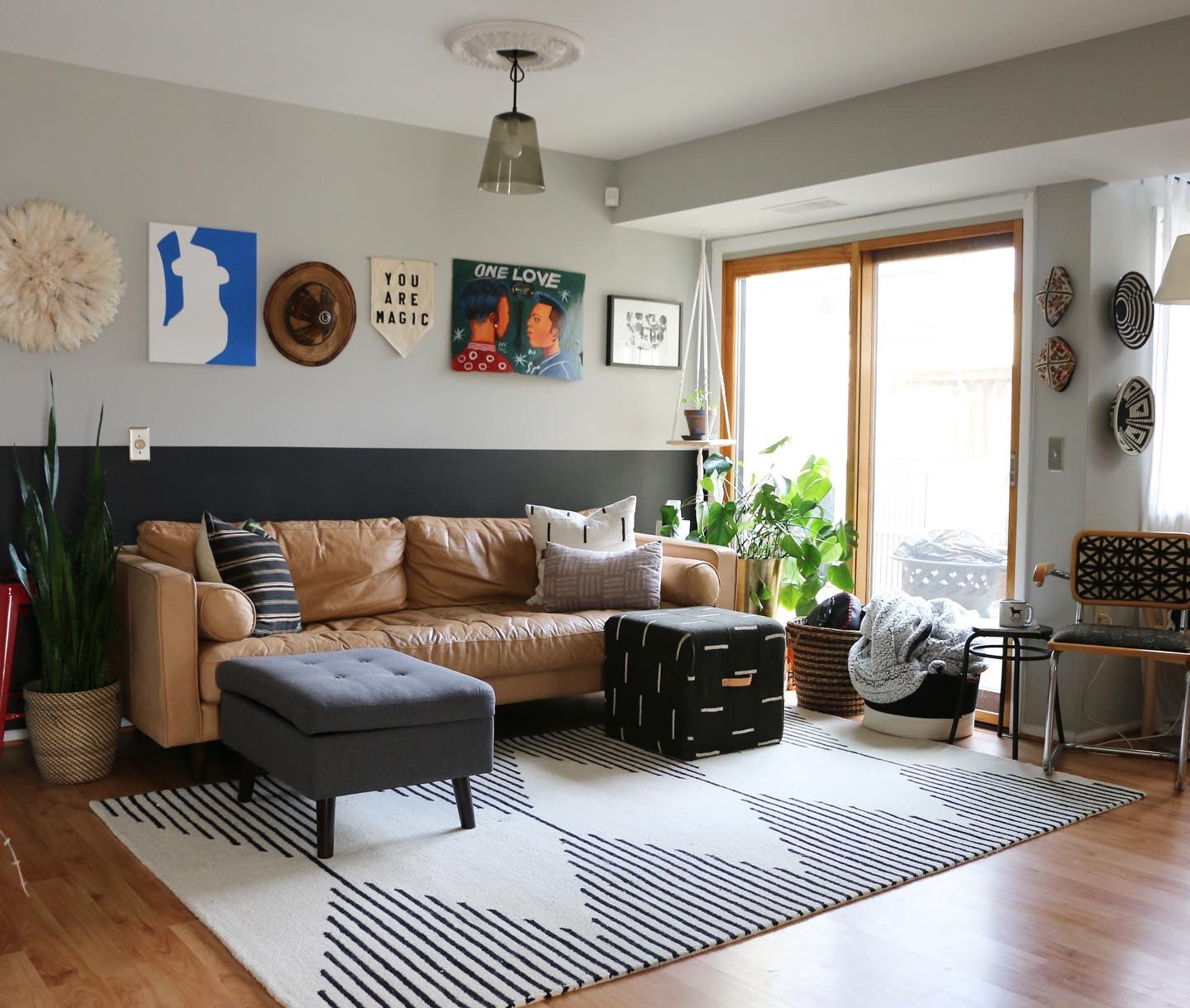 Modern African home decor with mudcloth and textiles