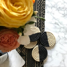 Load image into Gallery viewer, Black and Natural Mod Raffia Coasters - Uganda