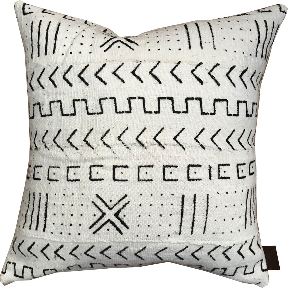 BAMAKO White Mudcloth Pillow Covers