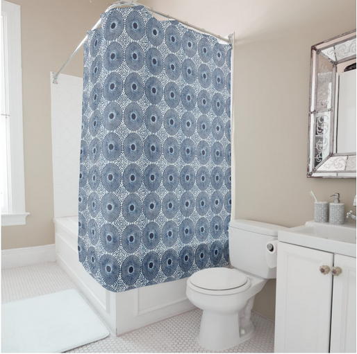 DELFT African Print Shower Curtain