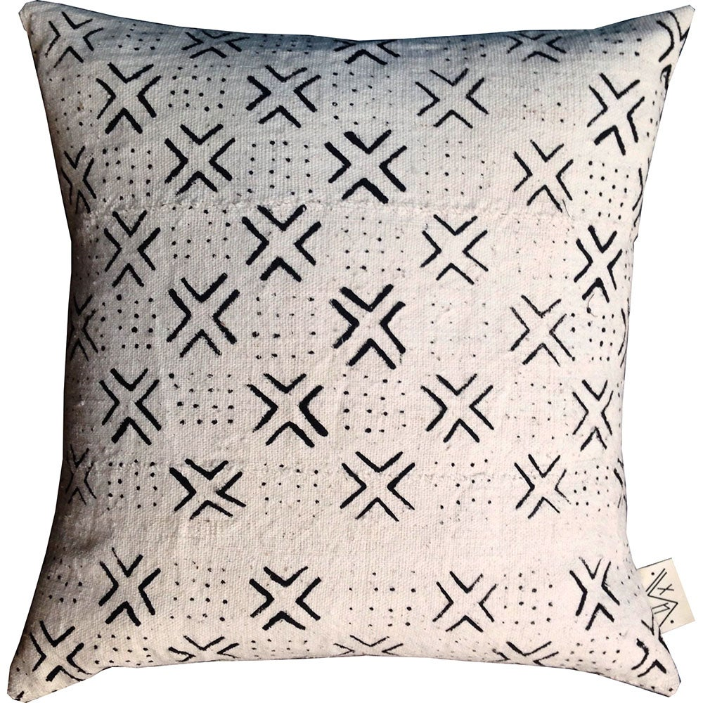 White + Black Domino Mudcloth Pillow Covers