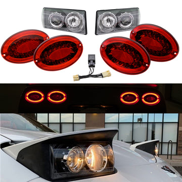 Corvette Envy C5 Lighting Bundle: C5 Modified LED Taillights & C5 ACA Projector Headlights