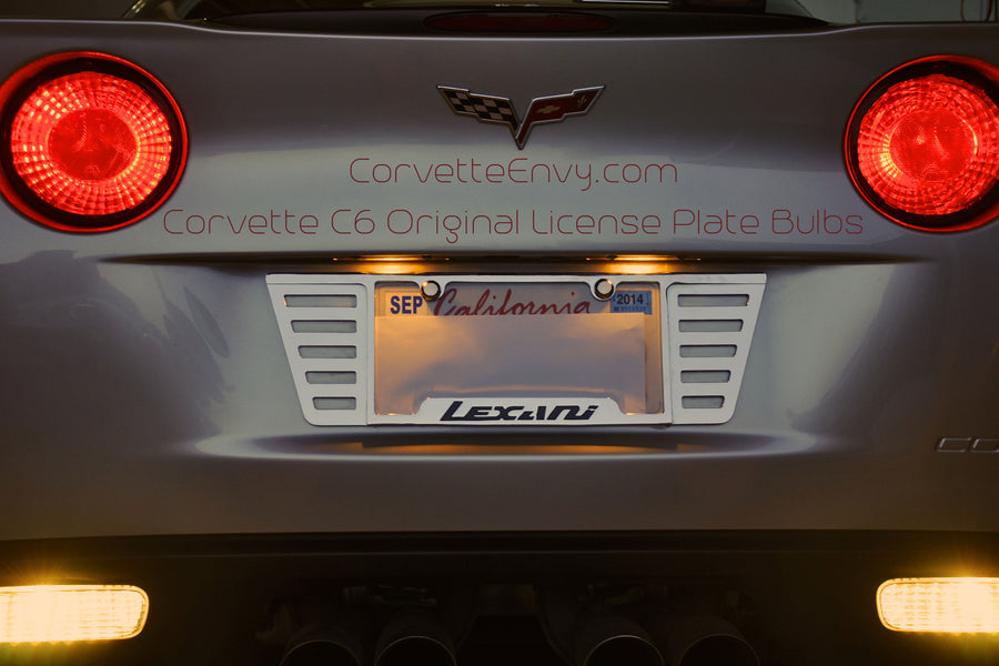 Original C6 License Plate Bulbs Installed