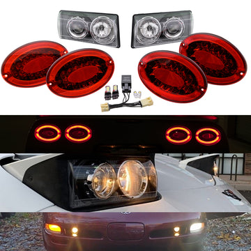 Corvette Envy C5 Ultimate Lighting Bundle: C5 Modified LED Taillights & C5 ACA Projector Headlights