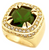 Gold/Silver Tone Synthetic Green Cz Stone Men Ring