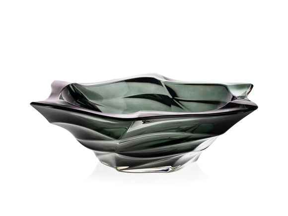 Grey crystal glass bowl