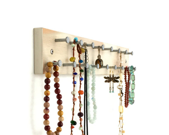 Rustic White Wall Mount Jewelry Rack
