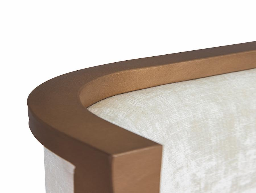 Broadway Bed in Opaque Copper metal finish & Best Friend Chalk fabric