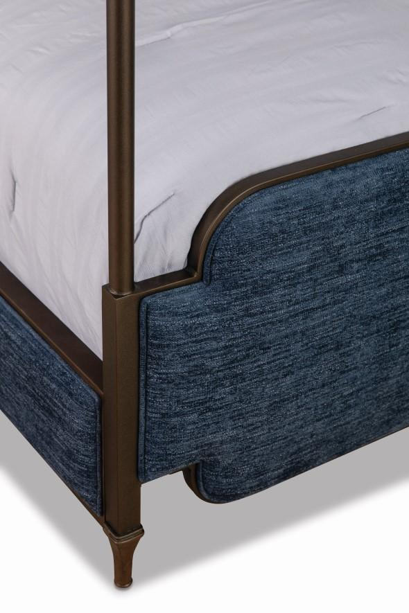 Kenton Bed in Old Copper metal finish & Archer Navy fabric