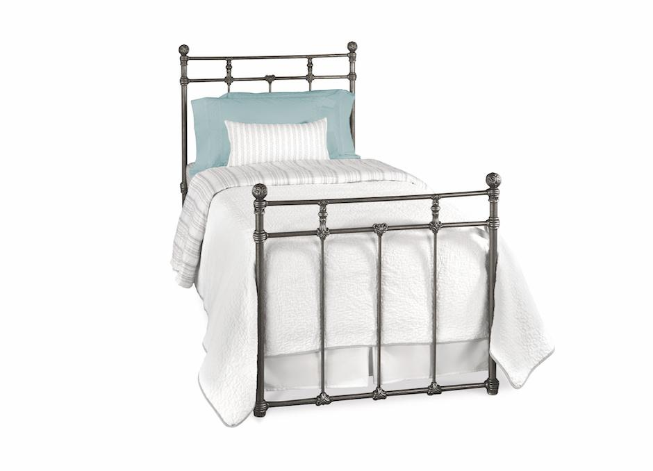 Sena Twin Bed in Silver Bisque metal finish
