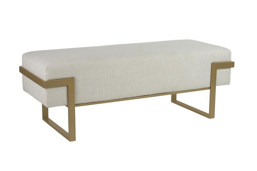 Athena Bench in Opaque Gold metal finish & Sugarshack Pearl fabric