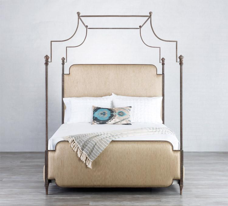 Kenton Bed in Textured Copper Moss metal finish & Pearl Santorini fabric