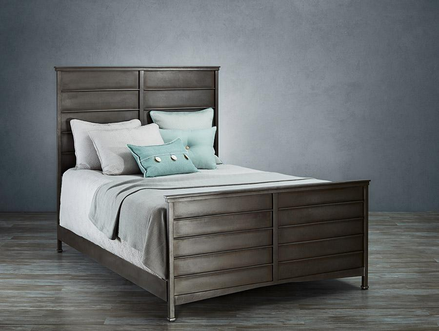 Lara Bed in Aged Steel metal finish