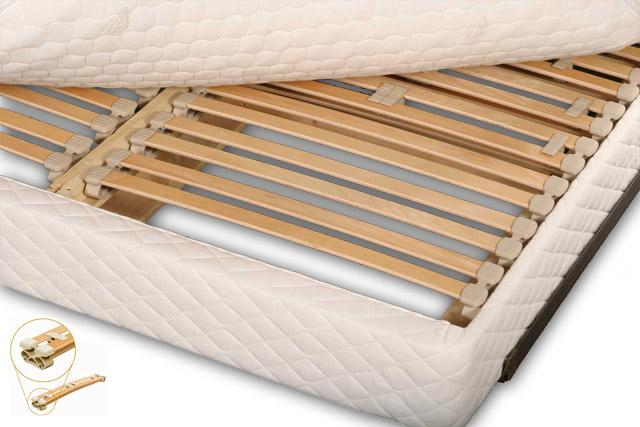 The optional European suspension slat foundation adds customizable support for each sleeper and is a highly-recommended addition to your Berkeley mattress.