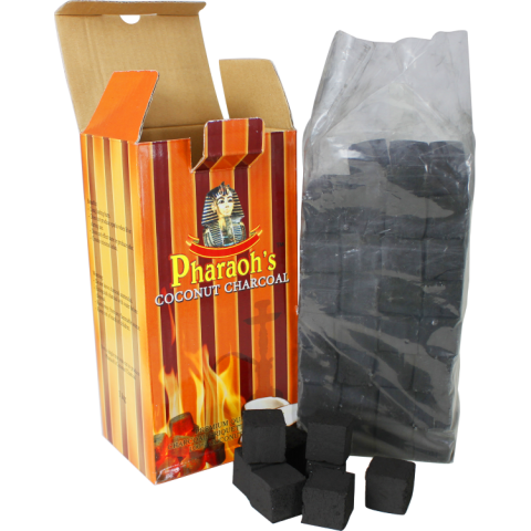Pharaohs Coconut Charcoal - 1 Kilo Box Square Cut Cut - Hookah Junkie