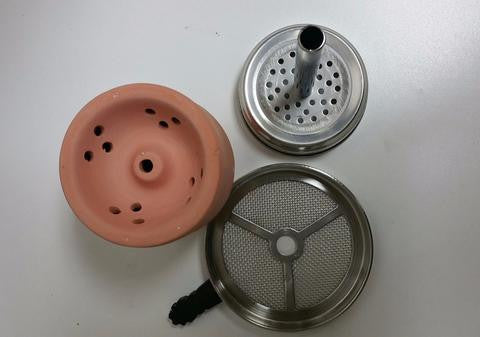 Badcha Head Clay Bowl with Heat Managment Screen By Square Smoke - Hookah Junkie