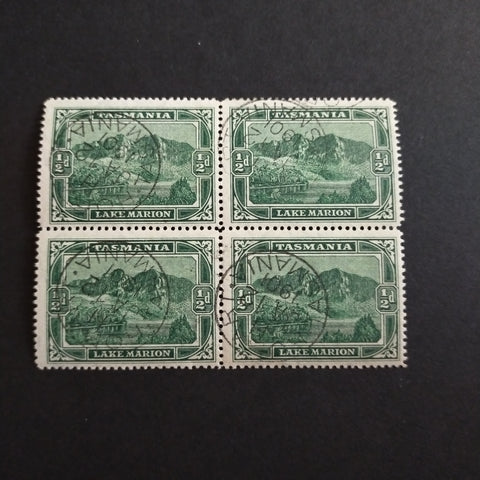 "1899-1900 Pictorials 1/2d Deep Green Block of 4 CTO With ""HOBART/TASMANIA/JA 12/1901"" On Each Sramp, Full Gum, Lower Pair Unmounted, Very Rare"